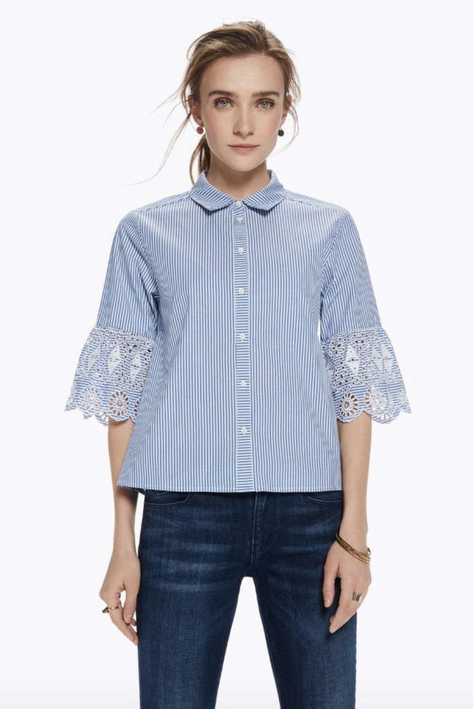 Scotch and Soda - Embroidered Sleeve Button Up - Blue Stripe - Front