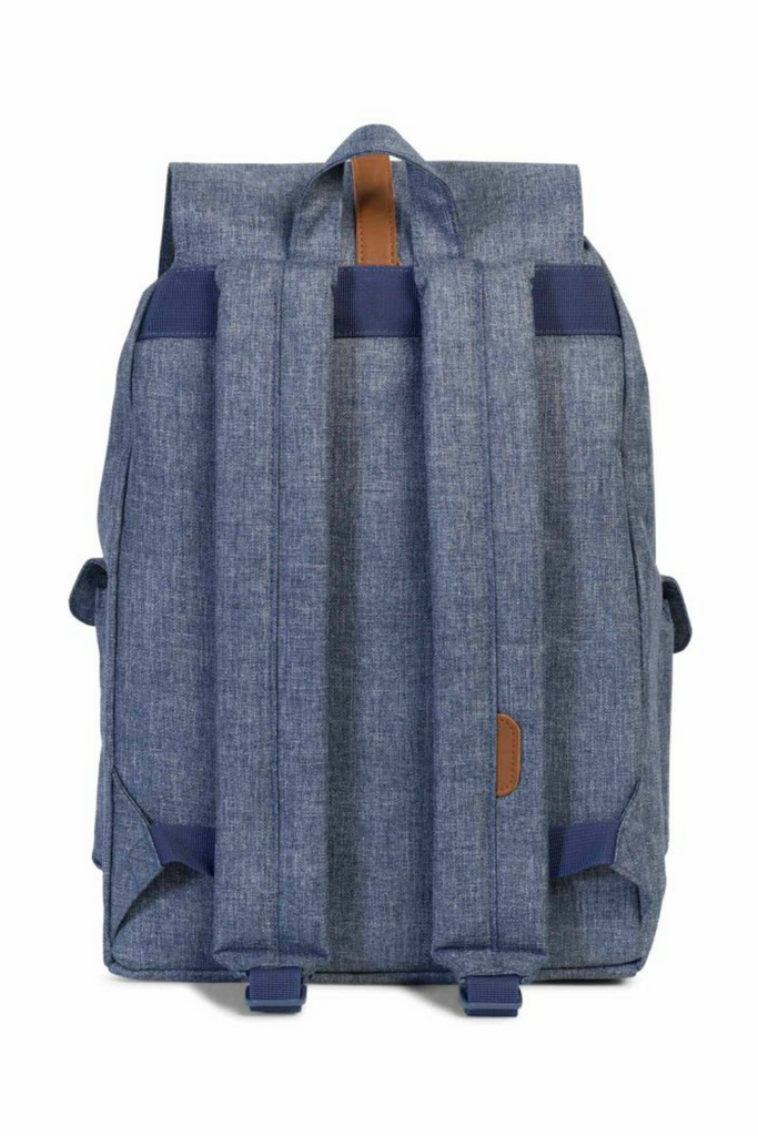 Herschel - Dawson Backpack - Dark Chambray Crosshatch/Tan - Back