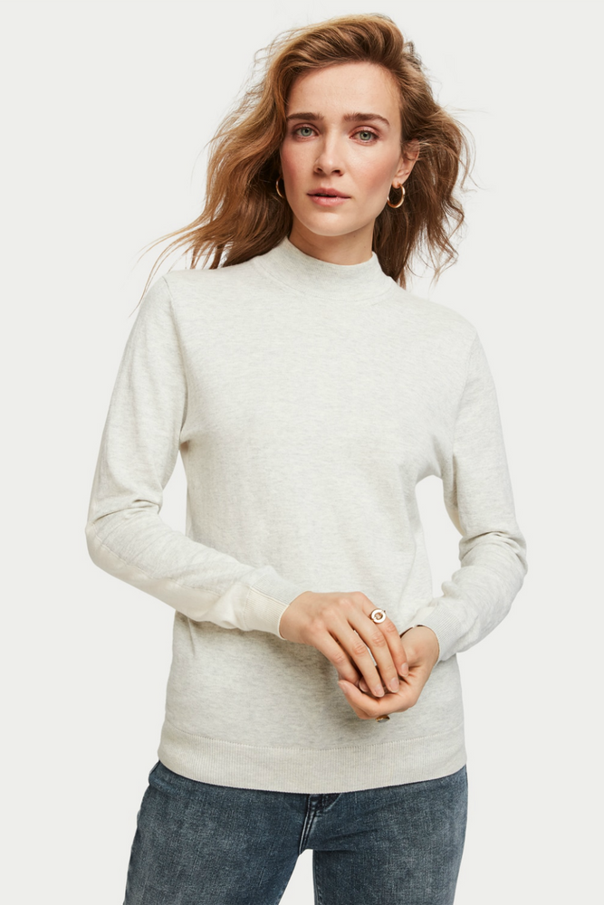 Scotch & Soda - Cashmere Blend Turtleneck - Ecru Melange - Back