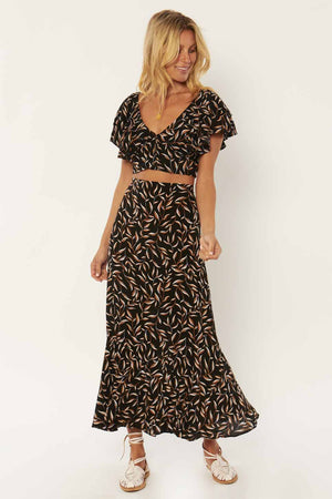 Amuse Society - Reina Woven Maxi Skirt - Black - Front
