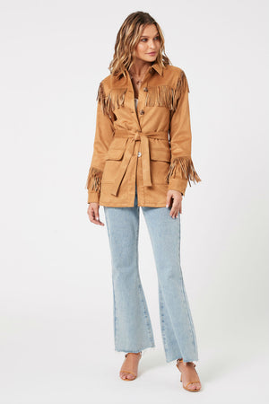 MinkPink - We Are Free Fringe Jacket - Tan