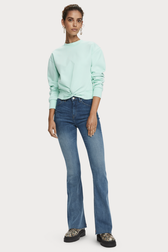 Scotch & Soda - Cropped Crewneck Sweater - Light Turquoise