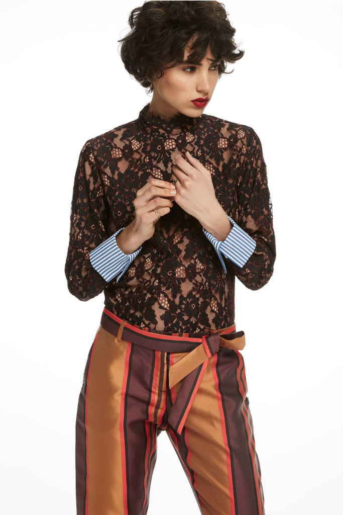 Scotch and Soda - High Neck Lace Top - Night - Front