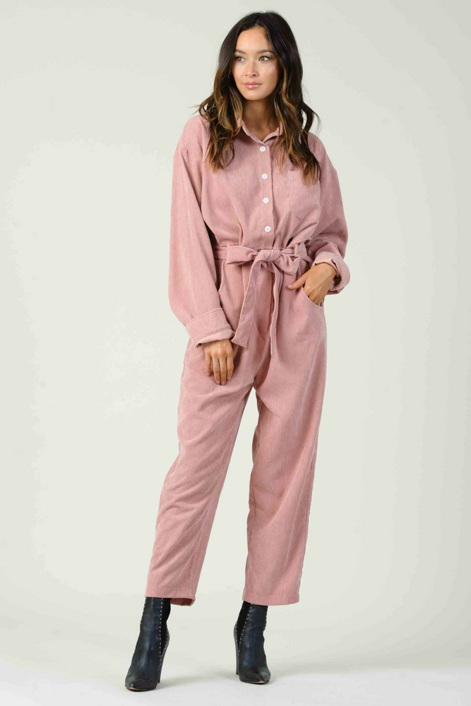 Lucca - Pinotage Jumpsuit - Dusty Pink - Front