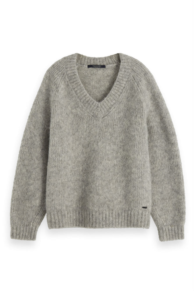 Scotch & Soda - Chunky V Neck Knitted - Grey Melange