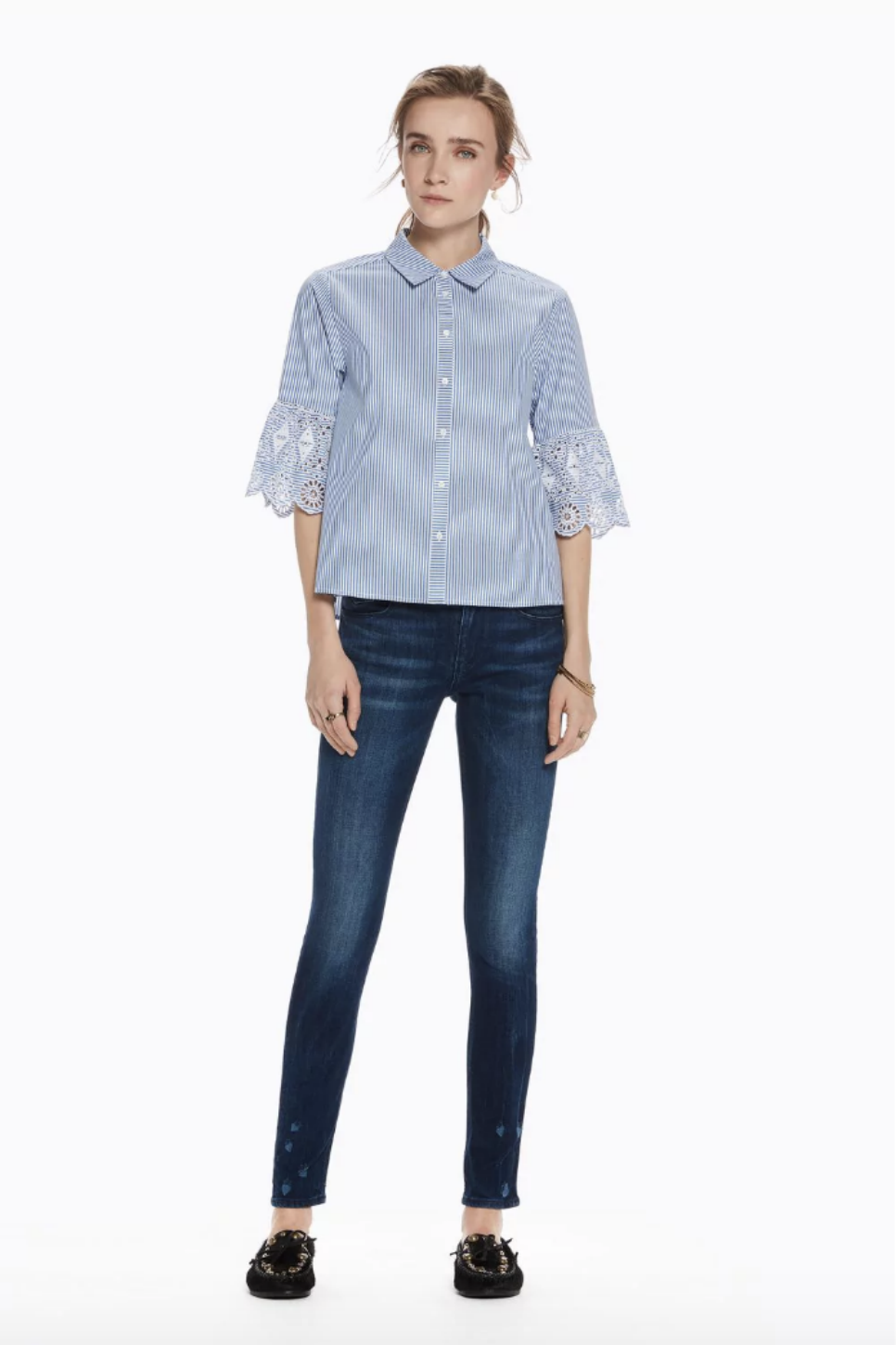 Scotch and Soda - Embroidered Sleeve Button Up - Blue Stripe
