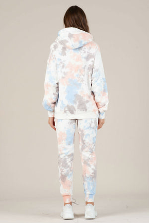 NYTT - London Pocket Hoodie Tie Dye - Pink/Purple/Blue - Back