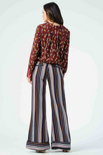 Lucca - Isla Contrast Cuff Wide Leg Pants - Primary Stripe - Back