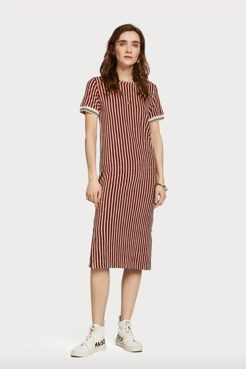 Scotch & Soda - Striped Midi Dress - Terracotta - Front