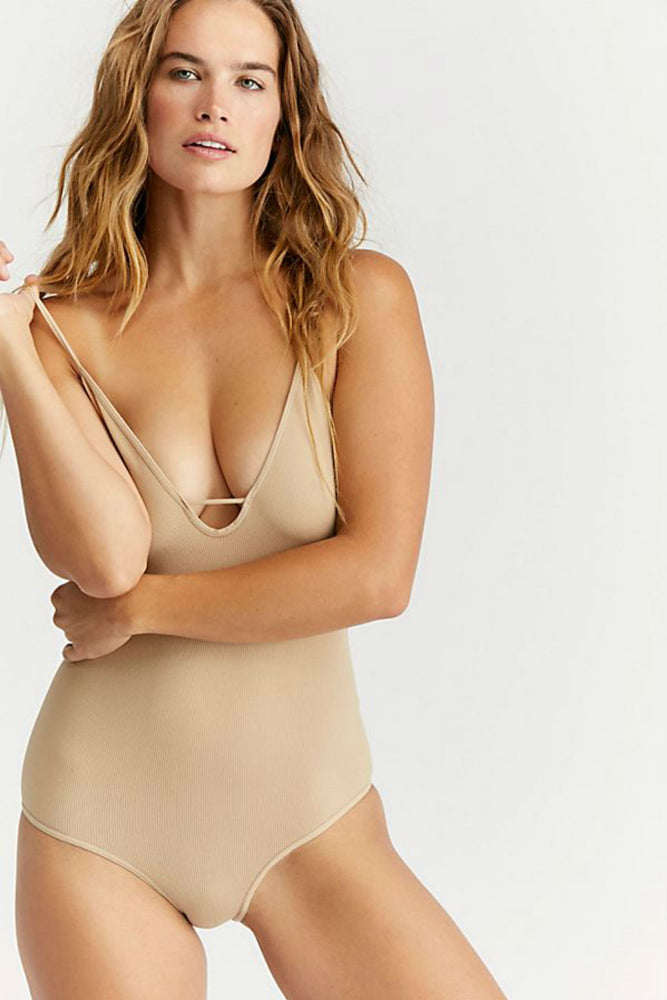 Free People - Move Along Bodysuit - Nude - Front
