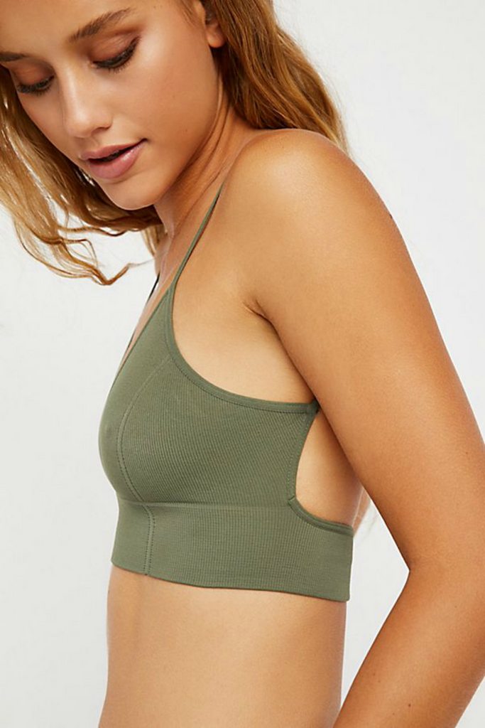 Free People - Low Back Bra - Green - Side