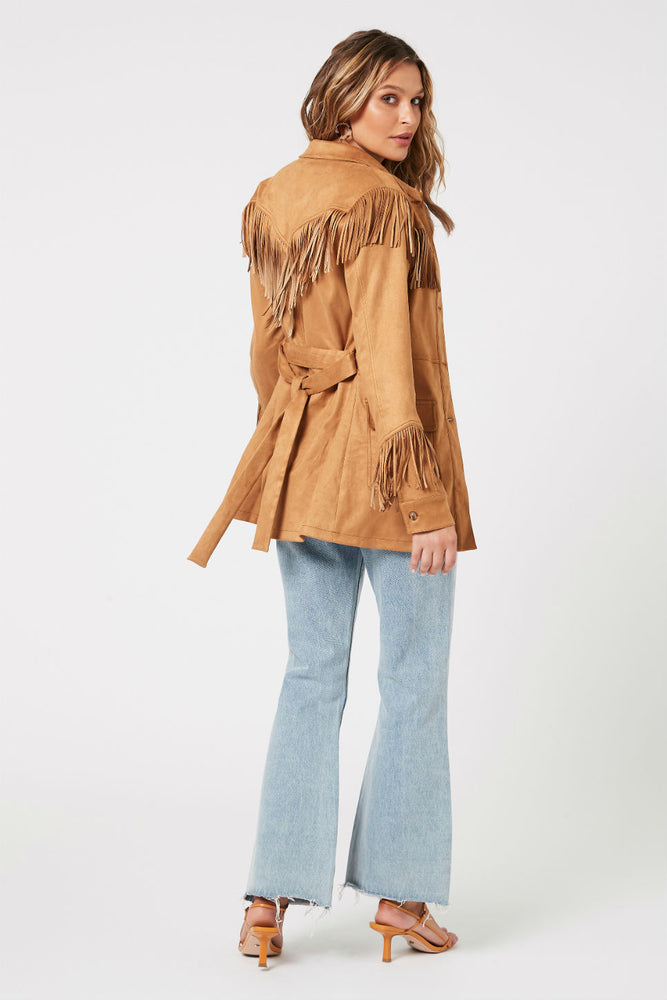MinkPink - We Are Free Fringe Jacket - Tan - Back