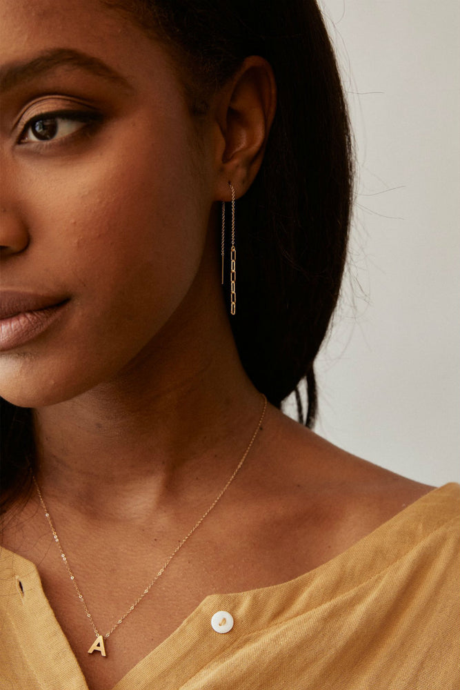 ESSENTIAL CHAIN THREADER EARRING Gold
