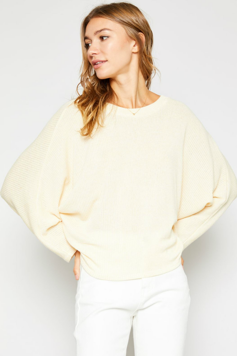 Sadie & Sage - Knit Batwing Top - Lemon Drop - Back