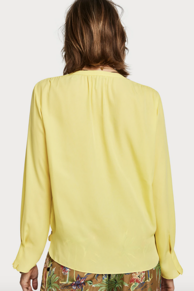Scotch and Soda - Crossover V Neck Top - Citrus - Back