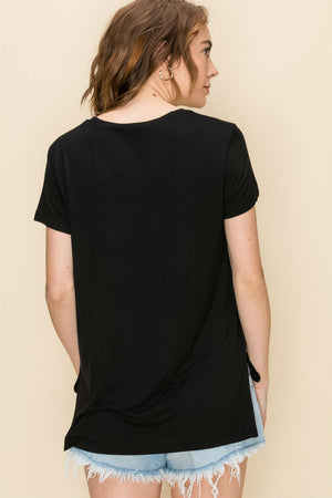 Double Zero - High Low Pocket Tee - Black - Back