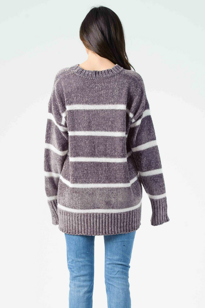 Lucca - Andrew Striped Crewneck Sweater - Grey/White - Back