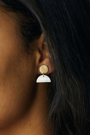 Able - Mini Cleo Earring - Two Tone - Model