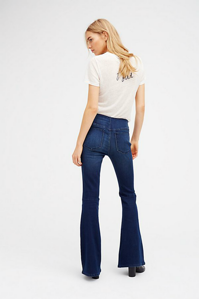 Free People - Gummy Denim Penny Pull On Flare - Rich Blue - Back