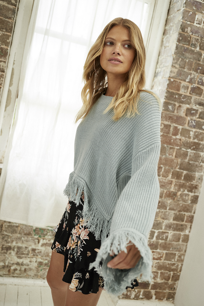 Somedays Lovin - Be Free Knit Jumper - Duckegg - Side