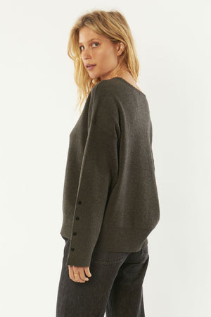 Amuse Society - Starshine LS Knit - Charcoal - Back