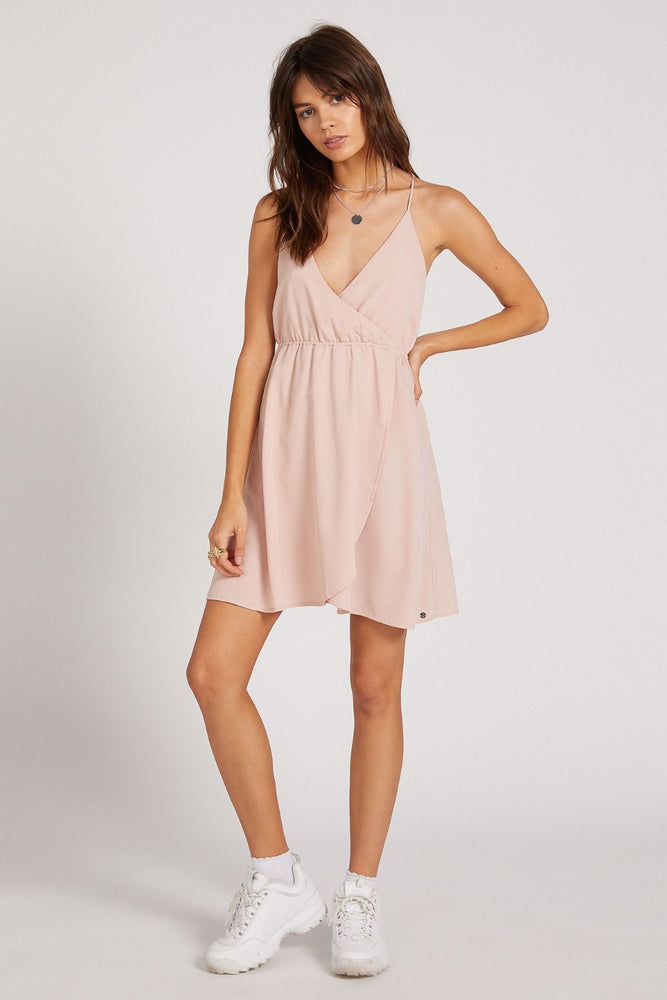 Volcom - Wrap Goddess Dress - Hazey Pink - Front