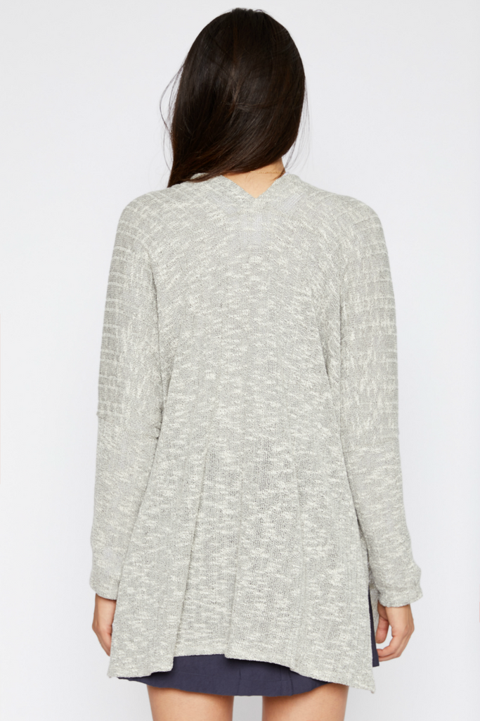 Sadie & Sage - Dolman Sleeve Ribbed Cardigan - Grey - Back