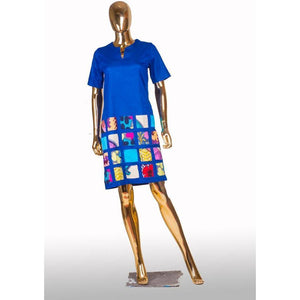 Juliet Denim Ankara Patch Dress-StyleStation