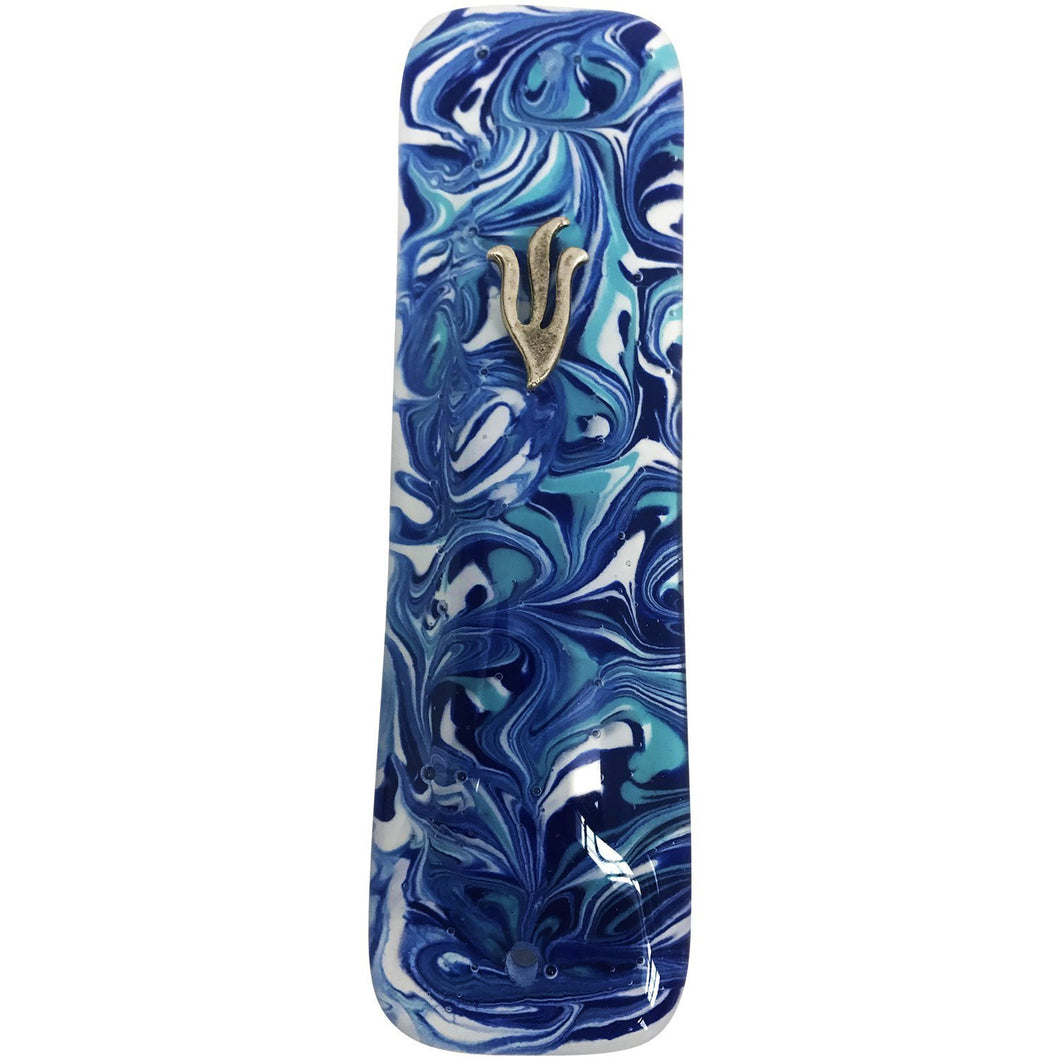 Marbled Blue Art Glass Mezuzah