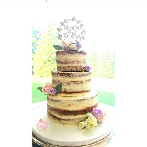 Three Tier Semi Naked Wedding Cake