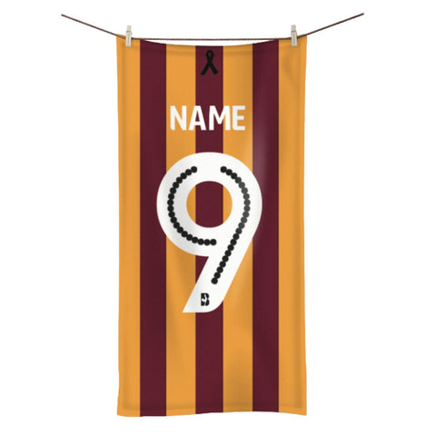 Personalised Towel - Claret & Amber Stripes