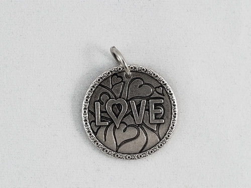 Nibble Charms- sold individually with no necklace- Love Antiqued finish