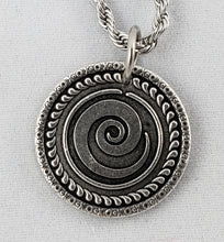 """Signature Swirl"" Antiqued Nibble Charm - Stainless Steel Chain"