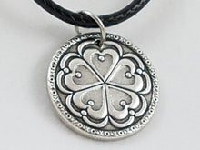 """5 of Hearts"" Antiqued Nibble Charm - Black Cord Necklace"