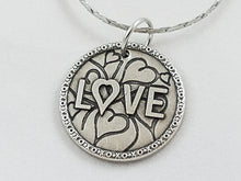 """Love"" Antiqued Nibble Charm - Stainless Steel Chain"