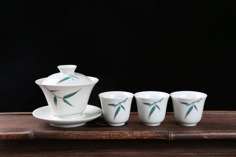 Blue Bamboo on White Porcelain Gaiwan and Cups