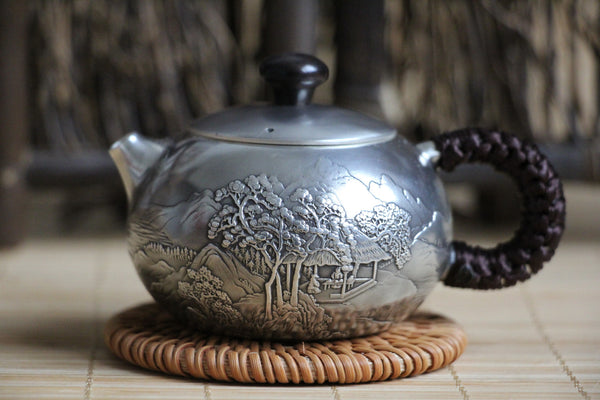 "Pure Silver 999 ""Mountains and Water"" Teapot * 120ml"