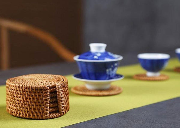 Hand-Woven Grass Coaster Set * Set of 6