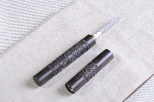 "Wenge Wood ""Dragon Pillar"" Steel Prying Tool for Pu-erh Tea"