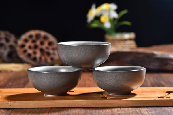 Bluestone Glazed Cups for Gong Fu Tea Brewing * Set of 4