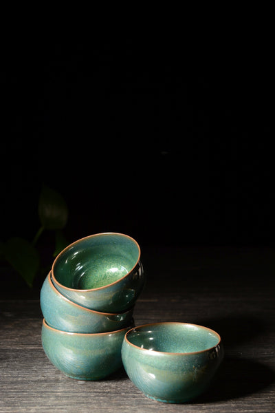 Emerald Sparkle Glazed Ceramic Cups * Set of 2
