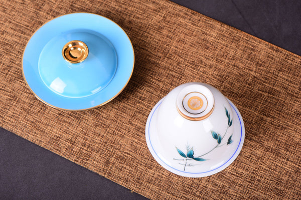 "White Porcelain ""Blue Bamboo"" Hand-Painted Gaiwan and Tea Cups"