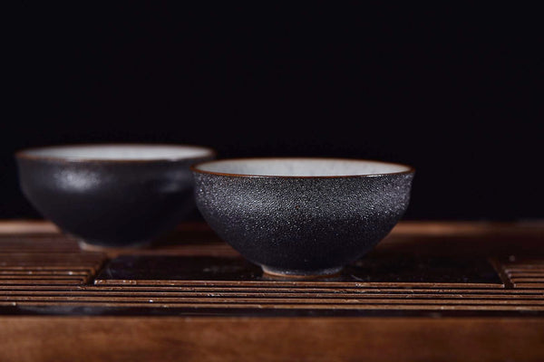 """Black Rain Meets the Winter Sky"" Glazed Tea Cups * Set of 2"