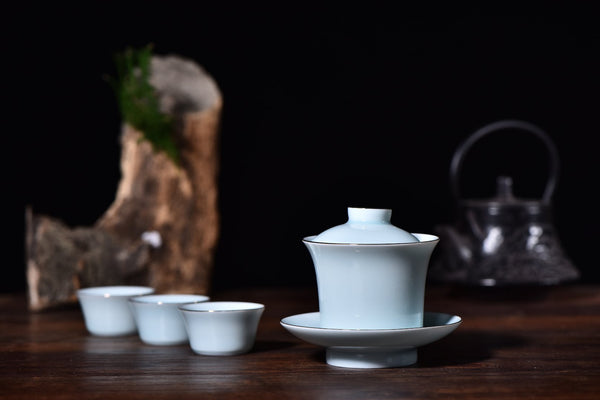 """Silver Lining"" Porcelain Gaiwan with Matching Cups and Cloth Carrier Bag"