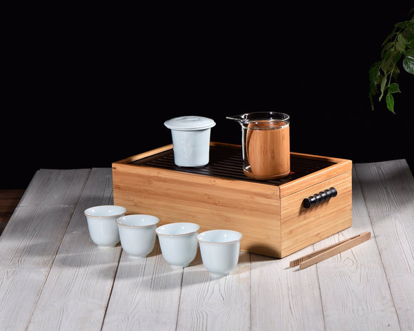 Bamboo Travel Tea Set for Gong Fu Tea Brewing * Serves 4