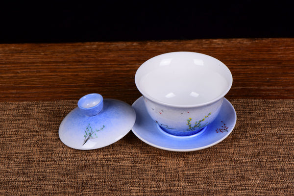 Life on the River Jingdezhen Porcelain Gaiwan and Cups