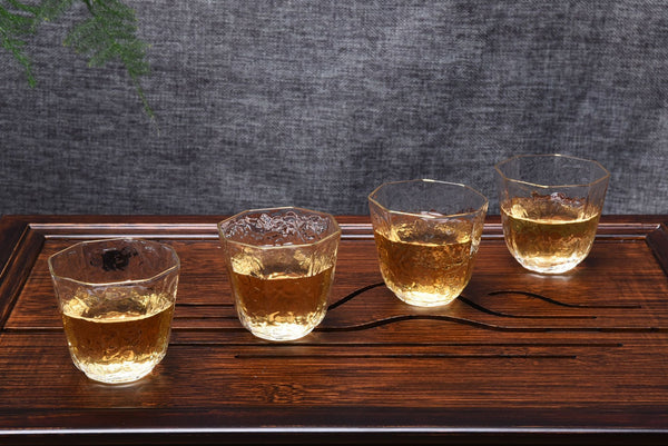 Gold-Rimmed Octagonal Obscured Glass Cups