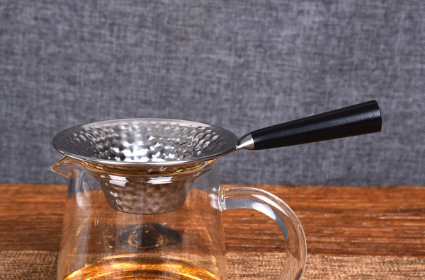 "Wood Handle ""Hammered"" Stainless Steel Strainer"