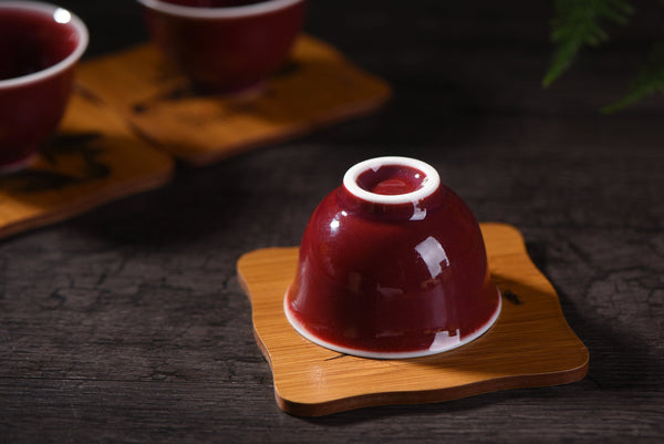 Ruby Red Cups Glazed Ceramic Tea Cups * Set of 2