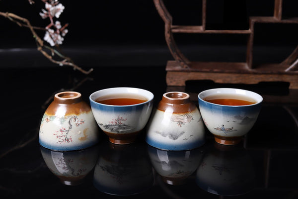 "Hand-Painted ""Li River"" Wood Fired Kiln Tea Cup"